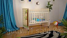 Детская кровать «Садко»,колесо+качалка белая