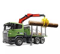 """Лесовоз Scania с портативным краном и брёвнами (подходит модуль со звуком и светом """"H"""")"""