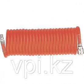 Шланг спиральный, воздушный с быстросъемными соединениями, ⌀8мм. 10м.18бар.  Matrix
