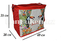Сумка холодильник 40х20х35 Tropical Summer красная (термосумка)