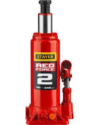 Домкрат гидравлический бутылочный STAYER RED FORCE, 43160-2_z01, серия PROFESSIONAL, 2 т, 181-345 мм