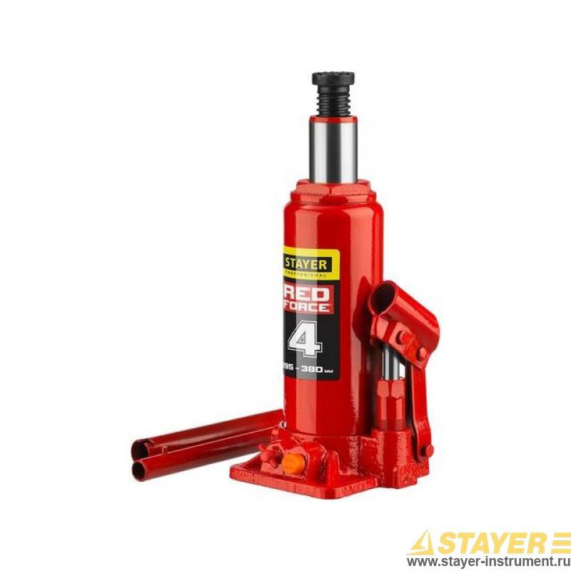 Домкрат гидравлический бутылочный STAYER RED FORCE, 43160-4_z01, серия PROFESSIONAL, 4 т, 195-380 мм