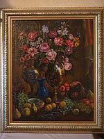 Антикварная картина «Натюрморт с цветами и фруктами»