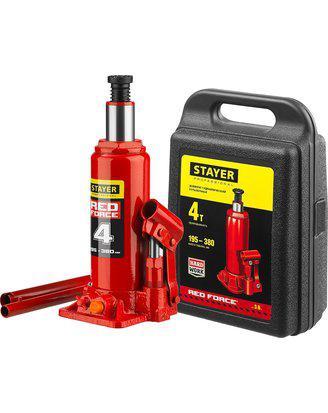Домкрат гидравлический бутылочный STAYER RED FORCE, 43160-4-K_z01, серия PROFESSIONAL, 4 т, 195-380 мм, кейс