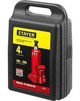 Домкрат гидравлический бутылочный STAYER RED FORCE, 43160-4-K_z01, серия PROFESSIONAL, 4 т, 195-380 мм, кейс, фото 3
