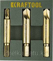 Набор экстракторов KRAFTOOL для выкручивания крепежа с износом граней шлица до 95%.PH1/PZ1,PH2/PZ2,PH3/PZ3