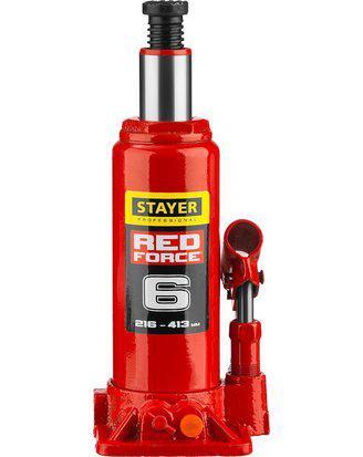 Домкрат гидравлический бутылочный STAYER RED FORCE, 43160-6-K_z01, серия PROFESSIONAL, 6 т, 216-413 мм, кейс