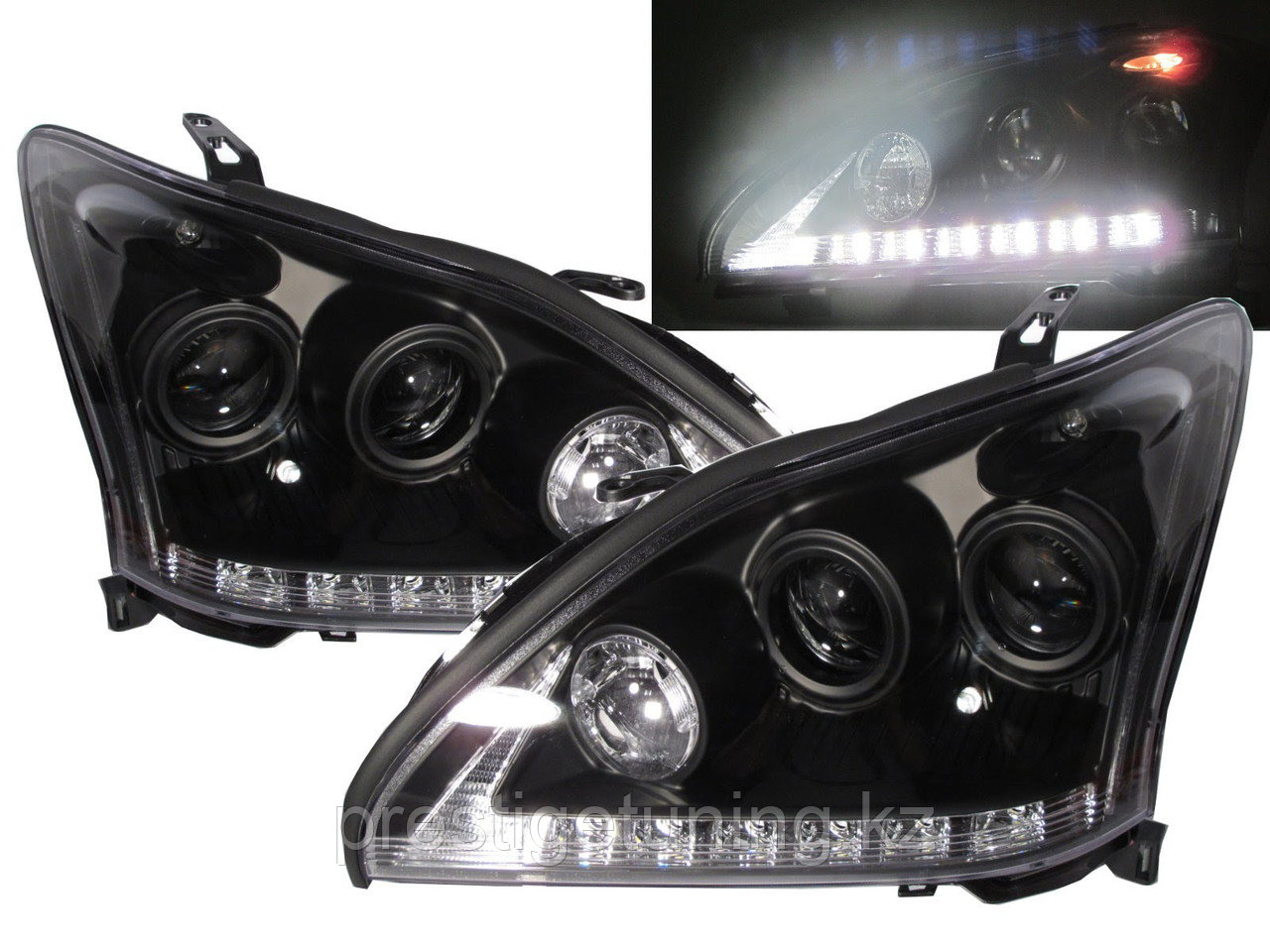 Передние фары Lexus RX300 RX330 R350 Angel Eyes 2004 - 09 Black
