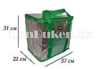 Сумка холодильник 37х21х31 зеленая с кармашком (термосумка)