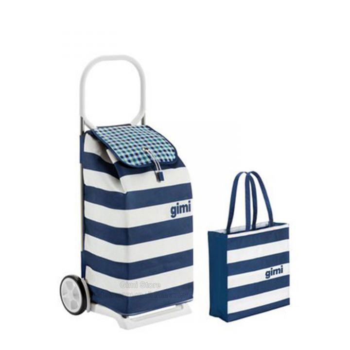 Брендовая сумка-тележка ITALO синяя в полоску + Shopper от Gimi (Италия).
