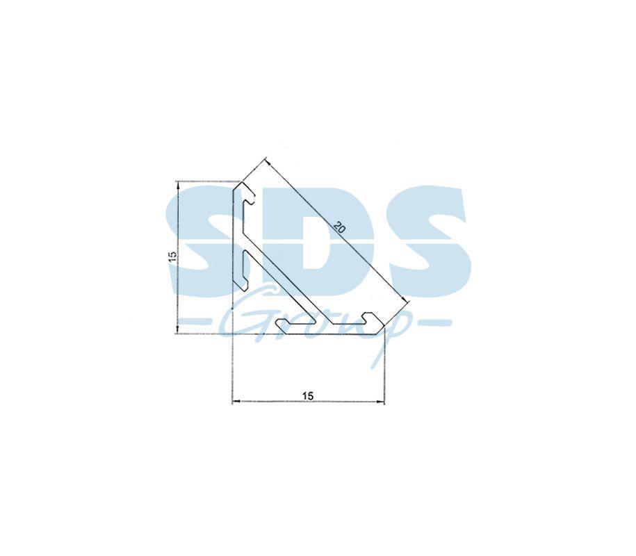 Профиль угловой алюминиевый 1515-2 REXANT, 2м - фото 2
