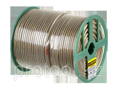 Трос стальной в полимерной оболочке, d=4,0 мм, L=100 м, STAYER Master