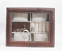 Шкатулка для ювелирных изделий с прозрачной крышкой, коричневая, 20*4*16 см