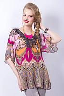 Блузка женская, шифон. Россия. Размеры: 52, 54, 56, 58