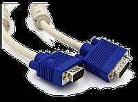 """VGA кабель """"LAN"""" M/М  1.5м  2 феррит. кольца, белый/серый + синий коннектор (чёр/прозрач. упаковка)"""