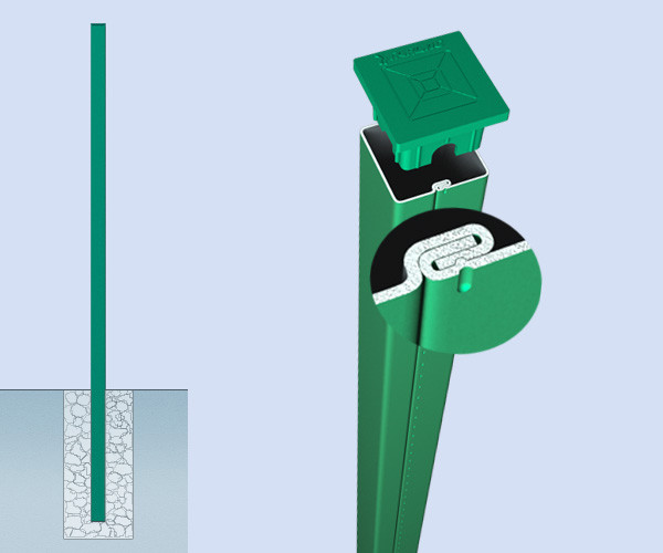 Столб для 3D ограждений металлический толщина металла 1.2 мм.