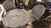 Стол и 4 стула, ротанг, ажурное плетение