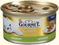 Gourmet Gold Паштет с кроликом Влажный корм для кошек, 85г., фото 1