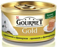 """Gourmet Gold Кусочки в паштете """"Террин""""  с кроликом по-французски Консервы для кошек, 85г."""
