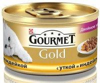 Gourmet Gold Кусочки в подливке с уткой и индейкой Влажный корм для кошек, 85г., фото 1