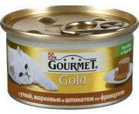 """Gourmet Gold Консервы для кошек Кусочки в паштете """"Террин""""  с уткой, морковью и шпинатом по-французски, 85г."""