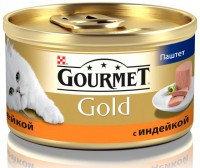 Gourmet Gold Паштет с индейкой Влажный корм для кошек, 85г., фото 1