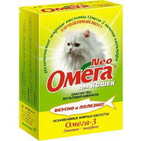 ОМЕГА NEO Мультивитаминное лакомство Для кошек биотин+таурин, 90таб, фото 1
