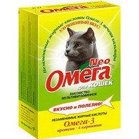 ОМЕГА NEO Мультивитаминное лакомство Для кошек протеин и L-карнитин 90таб, фото 1