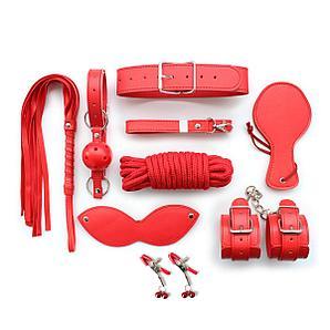 БДСМ набор без меха, 9 предметов, красный