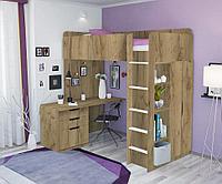 Кровать-чердак Polini Simple с письменным столом и шкафом, Дуб, фото 1