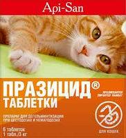 Празицид от глистов для кошек,  1 таб.на 3кг массы