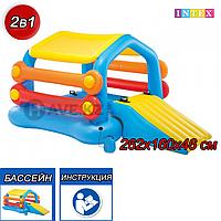 Детский надувной игровой центр-бассейн-плот с горкой и тентом Остров Intex 58294, фото 1