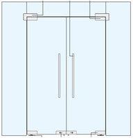 Стеклянные Двустворчатые Маятниковые Двери  с фрамугой и боковыми панелями., фото 1