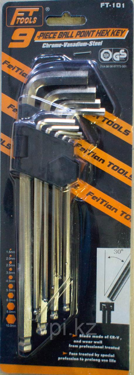Набор имбусовых ключей, HEX (шестигранник) средние FT-102, 9шт. FT tools