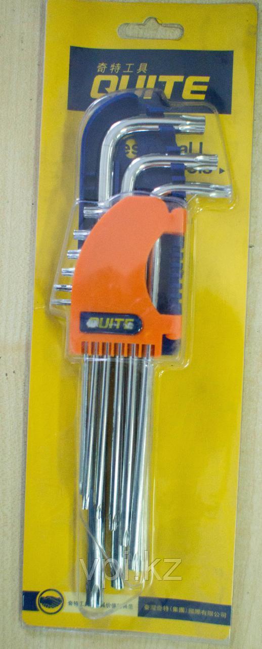 Набор ключей TORX (звездочка) длинные, Т10-Т50  9шт. QUITE