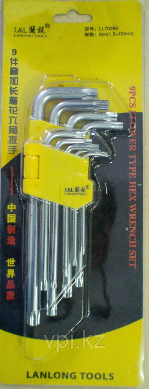 Набор ключей TORX (звездочка), средние 9шт. LANLONG TOOLS