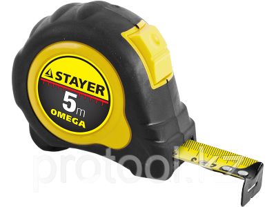 "Рулетка STAYER ""MASTER"" ""OMEGA"" автостоп, обрезиненный корпус, 5мх19мм, фото 2"