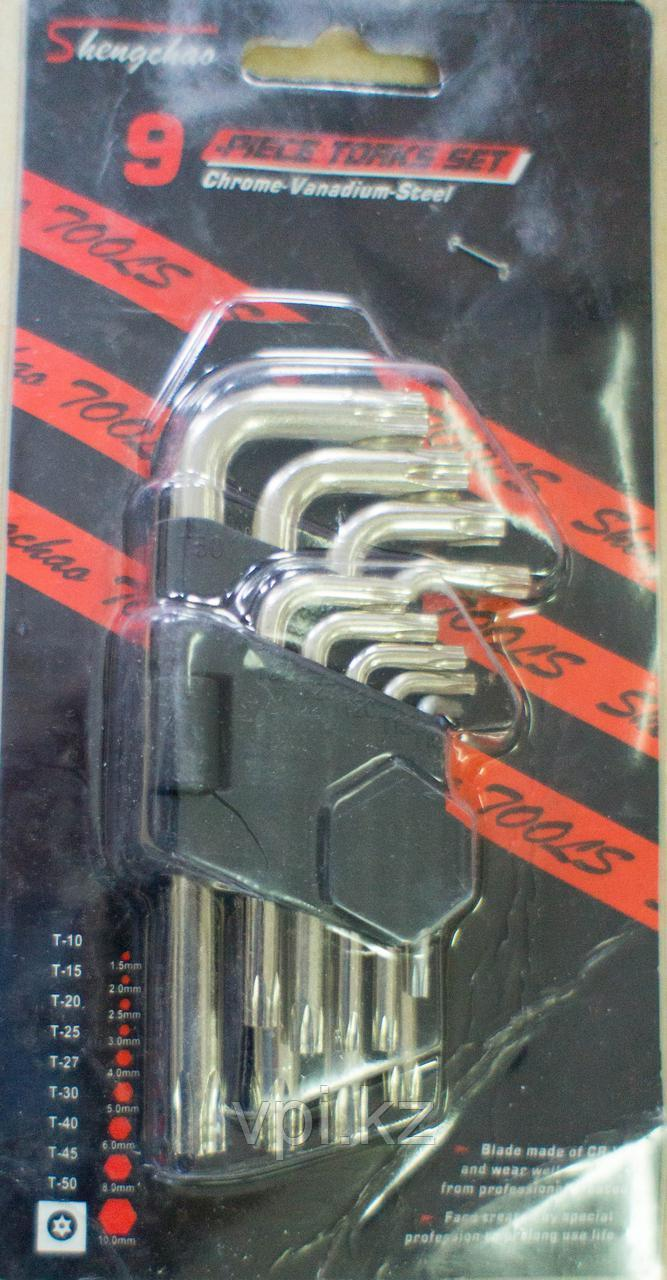 Набор ключей TORX (звездочка), короткие, Т10-Т50,  9шт. Shengchao tools