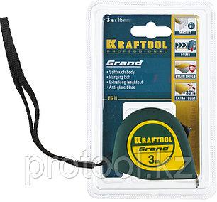 Рулетка KRAFTOOL GRAND, обрезиненный пластиковый корпус, 3м/16мм, фото 2