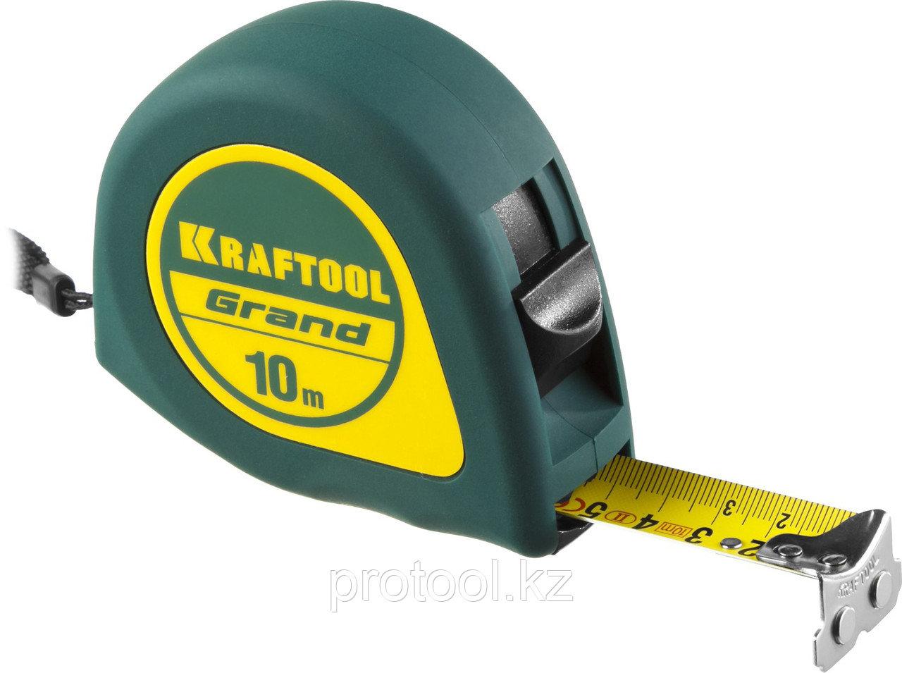 Рулетка KRAFTOOL GRAND, обрезиненный пластиковый корпус, 10м/25мм