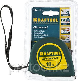 Рулетка KRAFTOOL GRAND, обрезиненный пластиковый корпус, 10м/25мм, фото 2