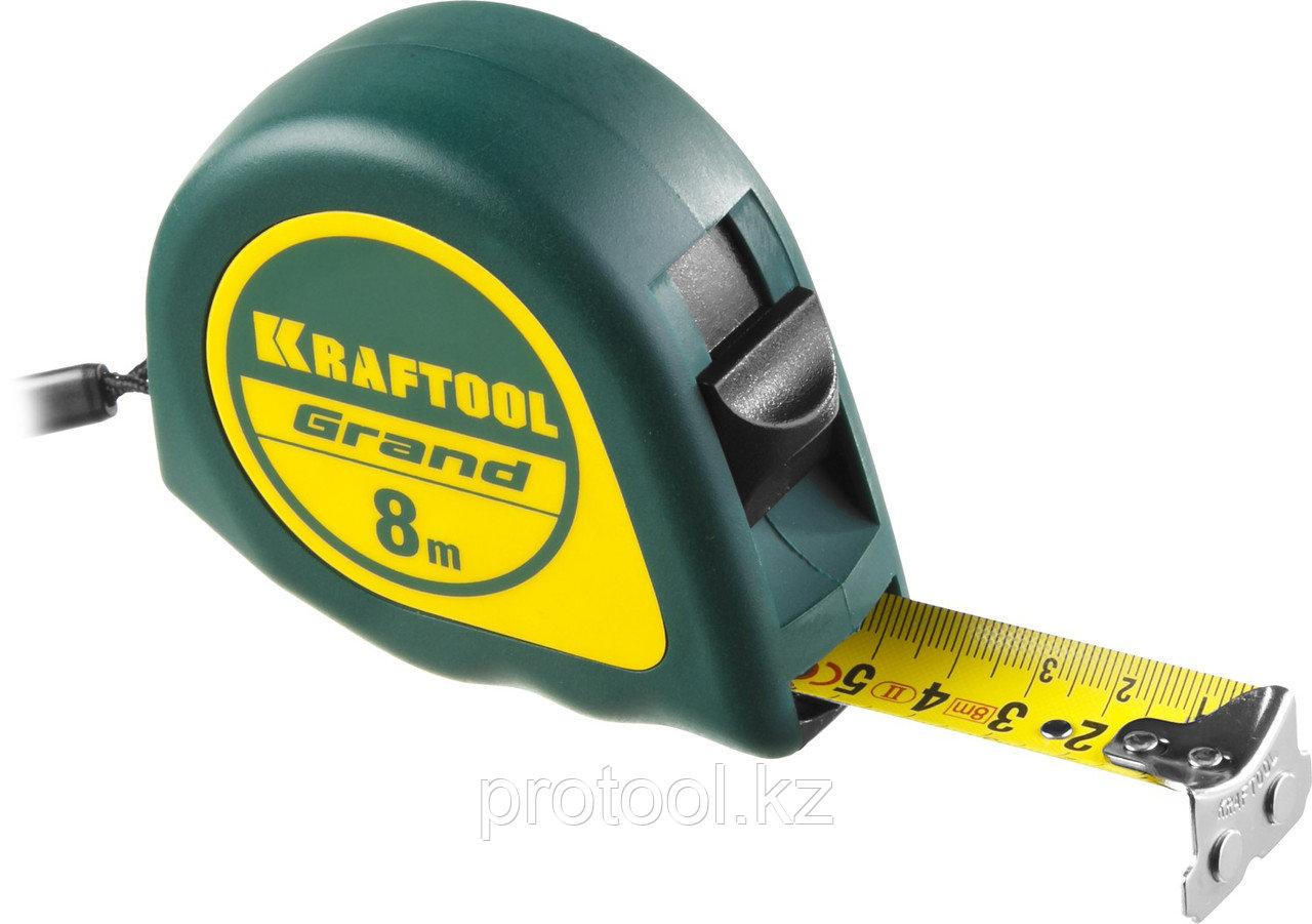 Рулетка KRAFTOOL GRAND, обрезиненный пластиковый корпус, 8м/25мм