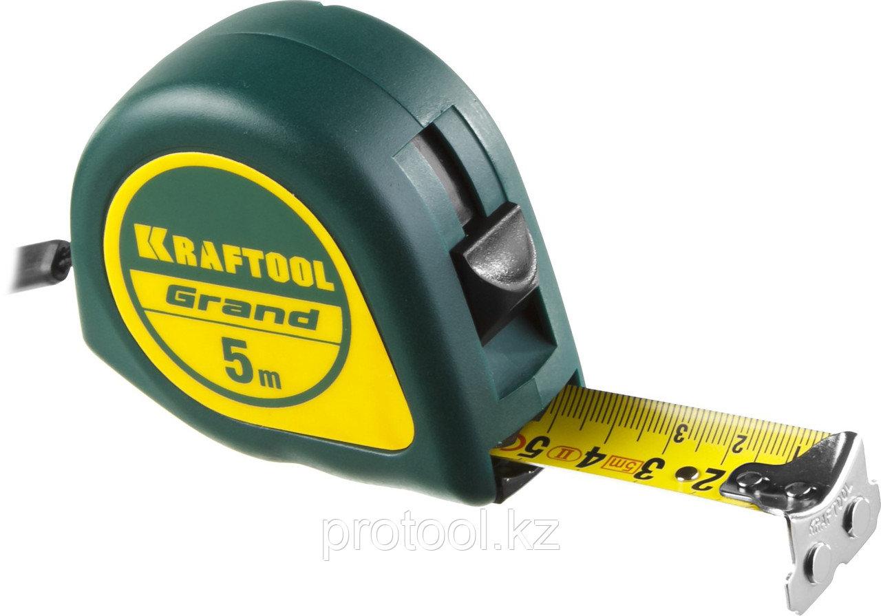 Рулетка KRAFTOOL GRAND, обрезиненный пластиковый корпус, 5м/25мм