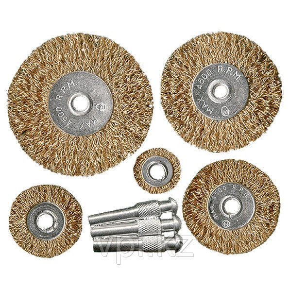 Набор дисковых щеток для дрели  из 5шт. 25-38-50-63-75 мм, со шпильками, латунированное покрытие, Matrix