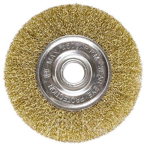 Плоская щетка для УШМ, 100*22,2мм латунированная витая проволока Matrix