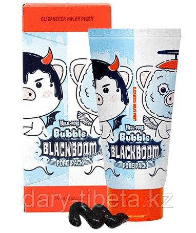 "Elizavecca""Hell-Pore Bubble Blackboom Pore Pack""-Маска для очищения пор,с Углем,Коллагеном и Гиалуроном"