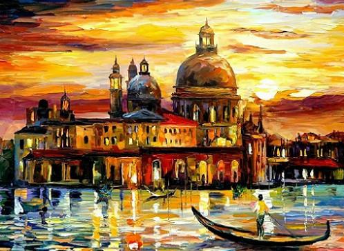 """Картины по номерам - Л.Афремов """"Золотое небо Венеции"""""""