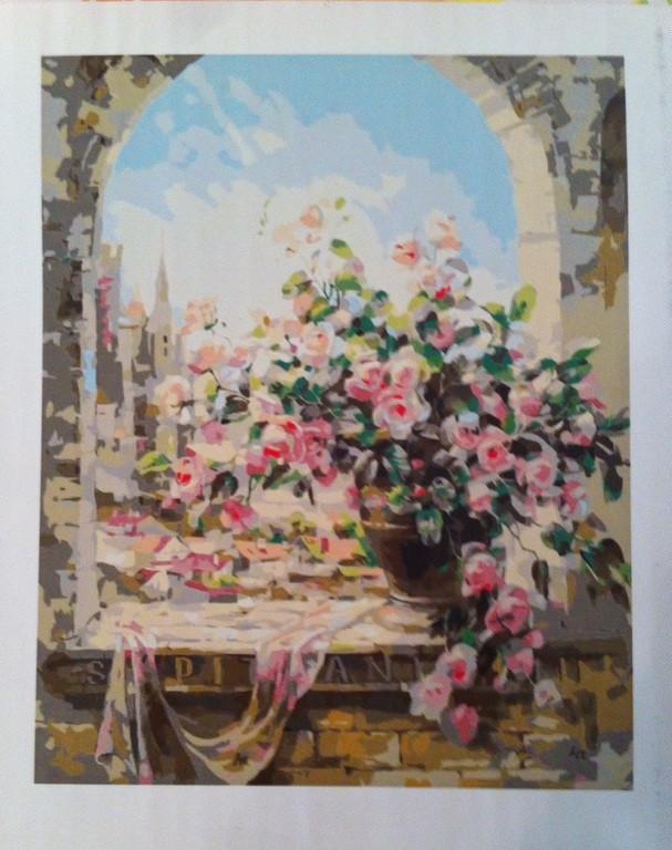 """Картины по номерам - """"Розовый букет у окна"""""""
