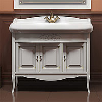 Комплект мебели ЛОРЕНЦО 100 (Белый с бежевой патиной)