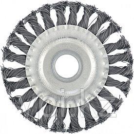 Плоская щетка для УШМ,  крученая стальная проволока 0,5 мм. 100* 22,2 мм,  Matrix